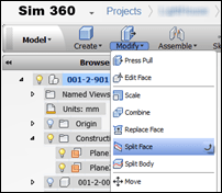 Autodesk Sim 360 Edit Design Split Face