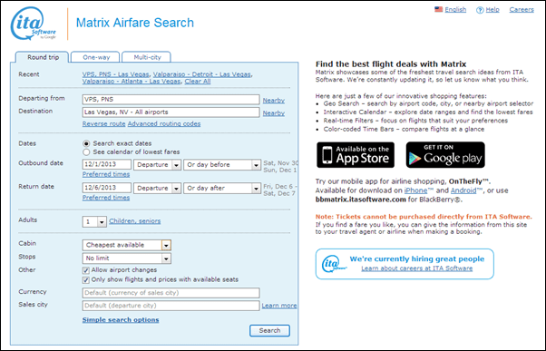 Best search options design