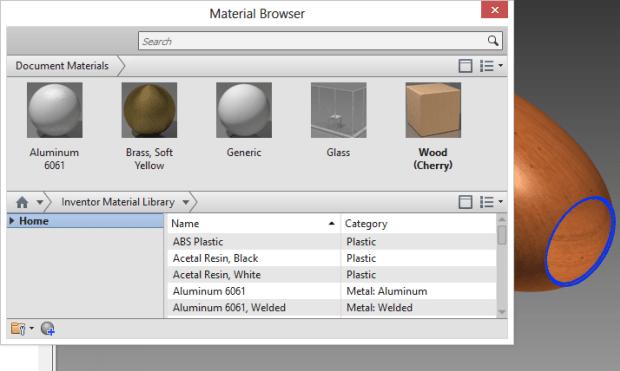 Inventor   Materials Editor Navigation