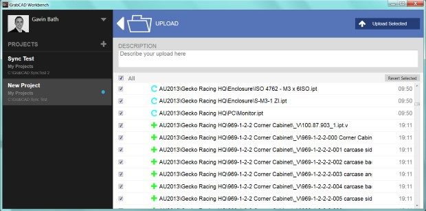 GrabCAD Workbench desktop sync details screen shows specific differences and status icons.