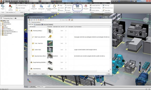 Autodesk Factory Design Suite 2015 FDS BOM