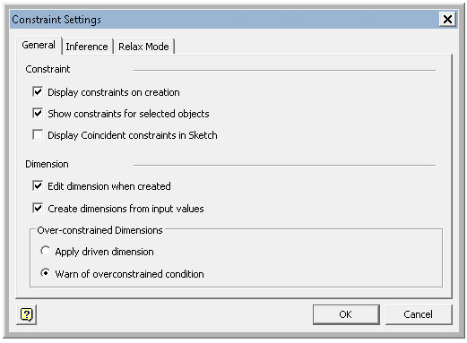 Inventor 2015 Constraint Settings