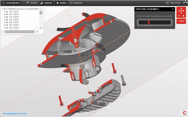 GrabCAD CAD Viewer exploded in section