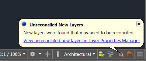 AutoCAD Unreconciled New Layers Notification