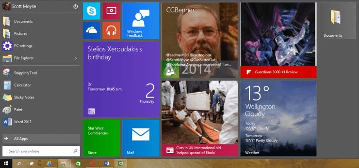 Windows 10 New Old Start Menu