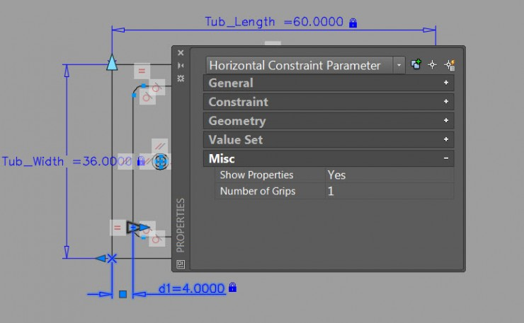 Dynamic Blocks Parametric Dimensions Grip Properties