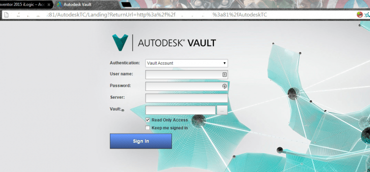 Autodesk Vault FQDN - Thin Client Log In
