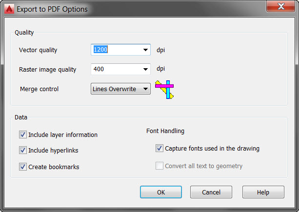 AutoCAD 2016 Export to PDF Options