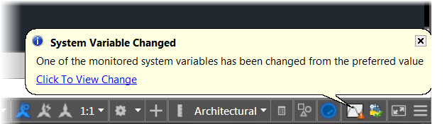 AutoCAD 2016 System Variable Changed Balloon