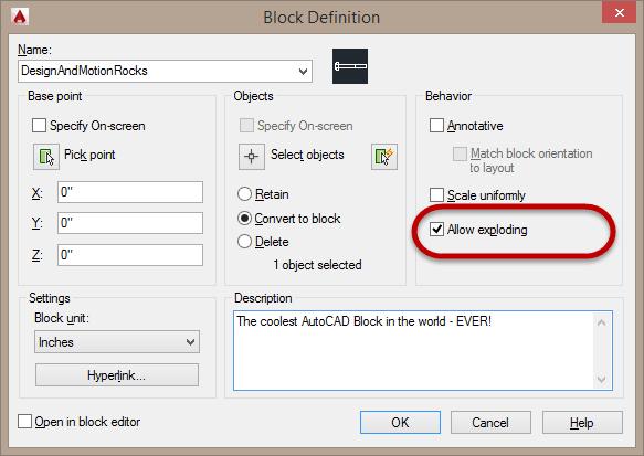 AutoCAD Block definition Allow Exploding