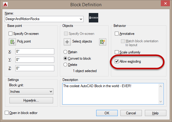 AutoCAD Block definition Allow Exploding