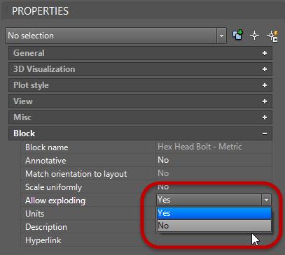 AutoCAD Block properties Allow exploding