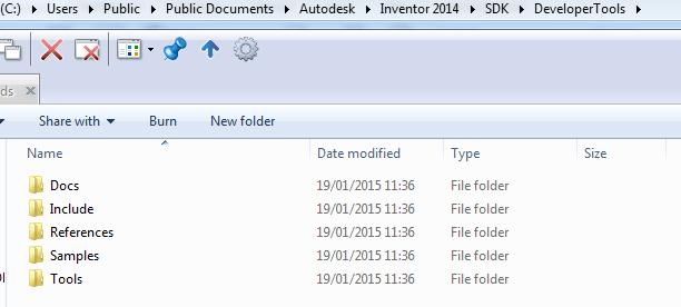 Inventor API developer tools installed