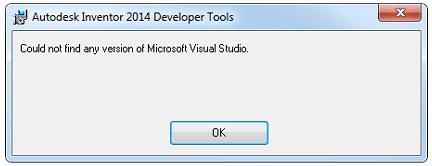 Inventor API developer tools no Visual Studio error