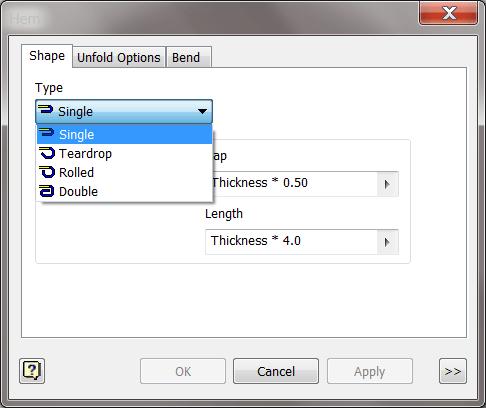 Inventor Hem Dialog - Types