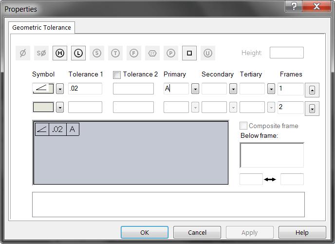 DimXpert - GDT Dialog