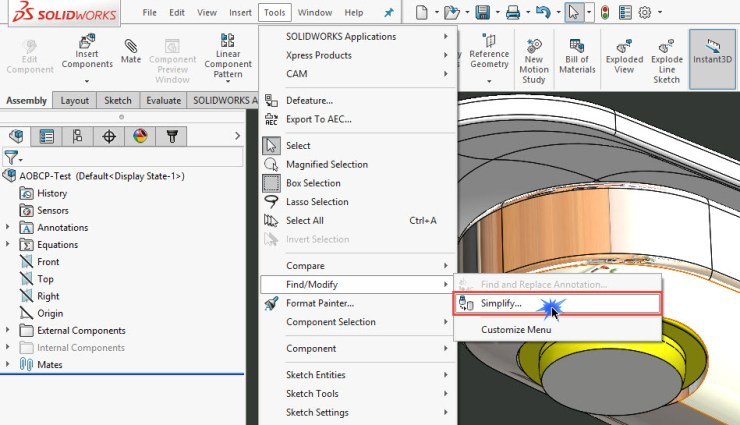 Solidworks 2016 Simplify command