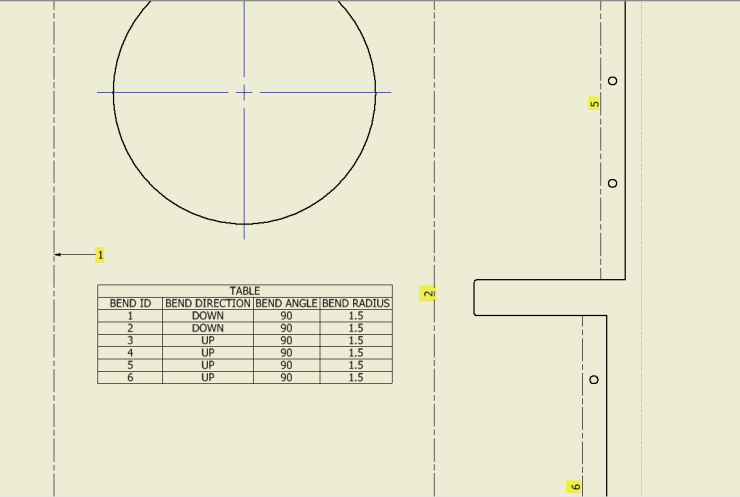 Inventor SM Flat Pattern Bend Table