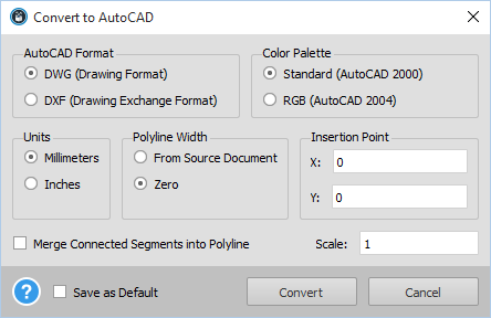 Able2Extract - Convert To AutoCAD Options