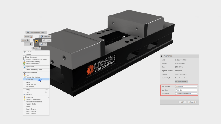 Fusion 360 Component Properties