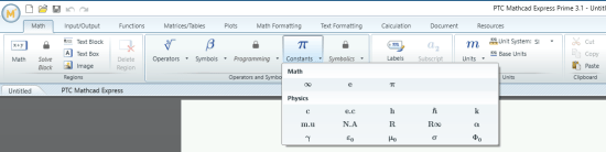 PTC Mathcad Math Ribbon