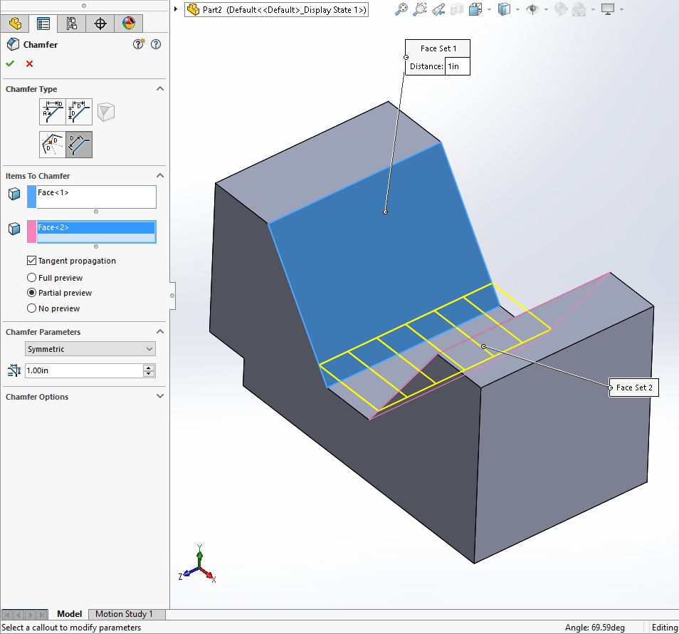 SOLIDWORKS 2017 Chamfer Face Feature