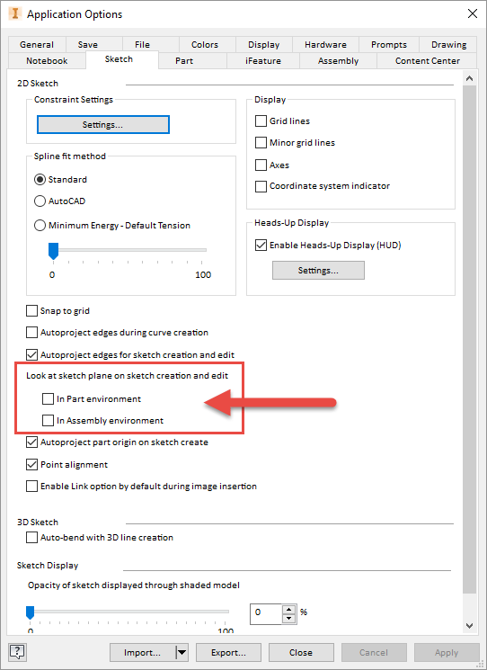 Inventor 2017 R3 Application Options