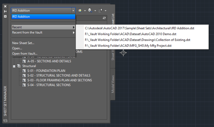 AutoCAD-Sheet-Set-Manager-Drop-Down