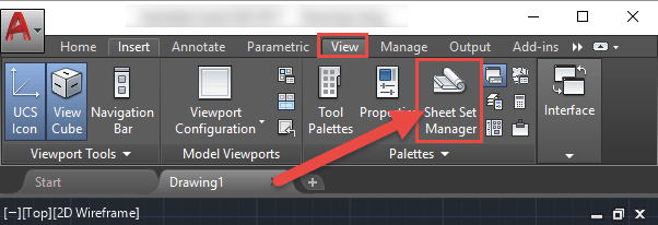 AutoCAD Sheet Set Manager Launch View Tab
