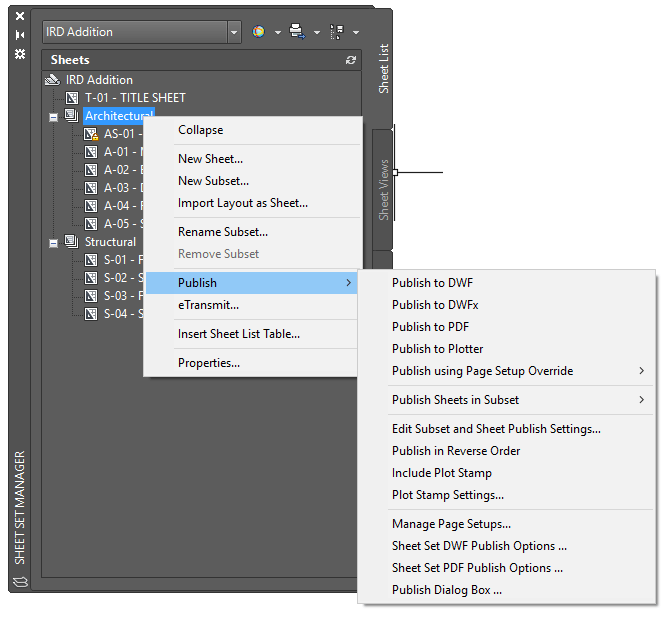 AutoCAD-Sheet Sets Manager Publish