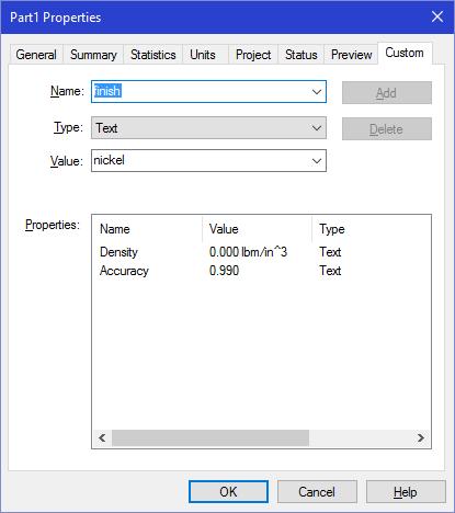 The default Custom Properties.