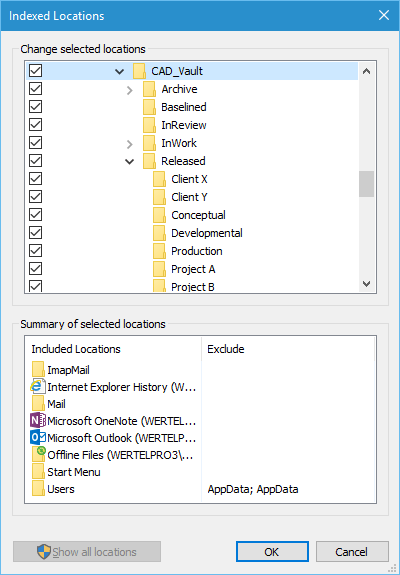 Select the CAD library top-level folder and all its subfolders for indexing.
