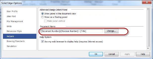 Solid Edge Document Name Helper