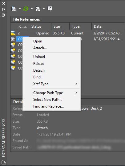 AutoCAD 2018 External References Palette Menu