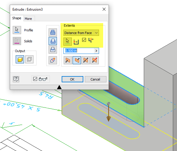 Inventor 2018 Extrude Distance-From-Face