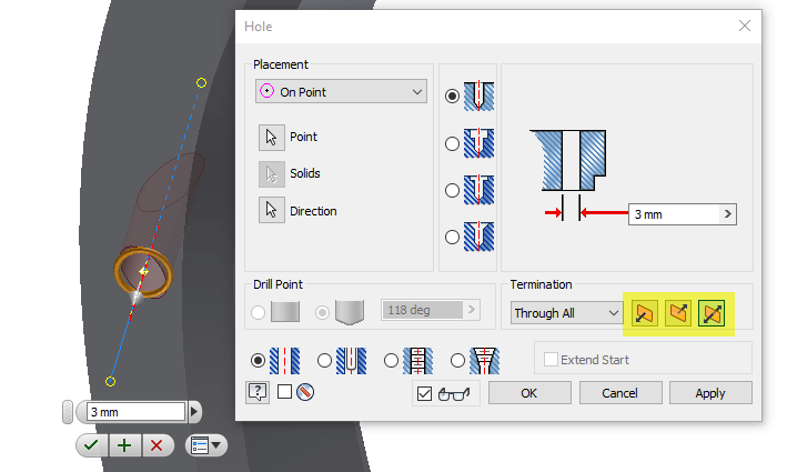 Inventor 2018 Hole Termination Updates