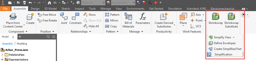 Inventor 2018 Simplification Panel