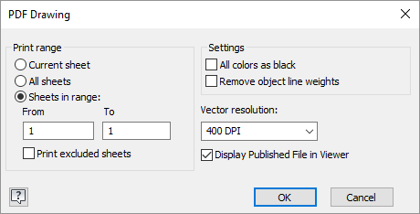 Inventor 2018 PDF Options