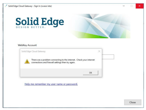 Solid Edge Cloud Gateway Cant Connect