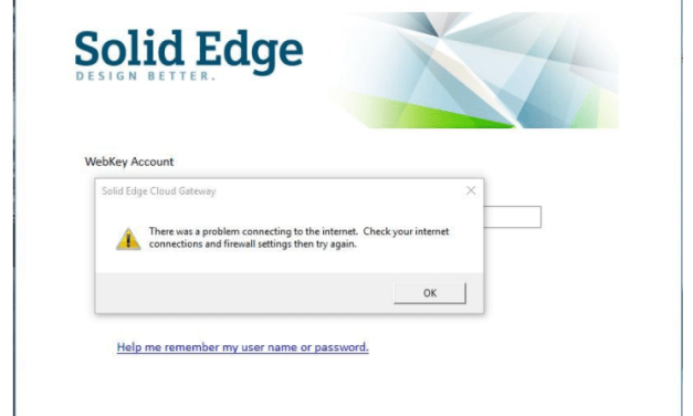 Solid Edge Cloud Gateway Disconnect