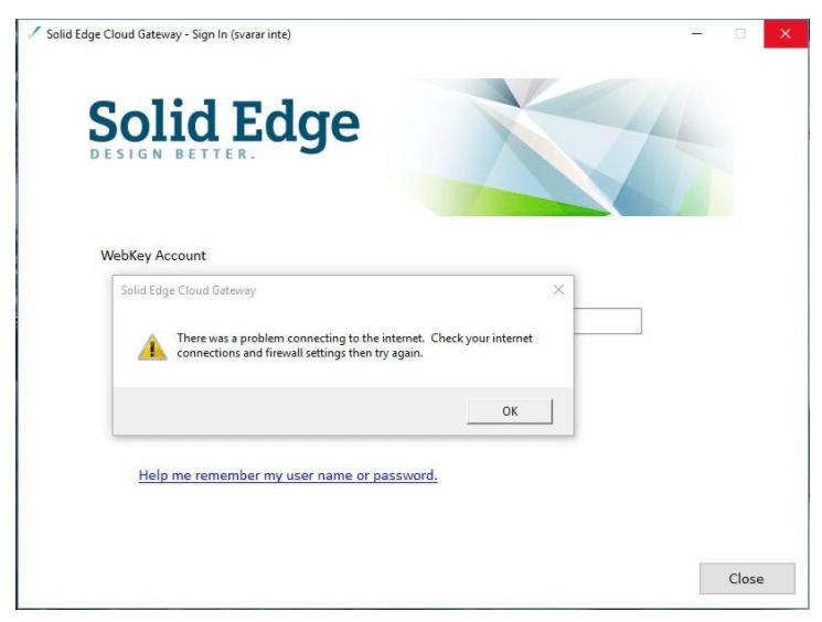 Solid Edge Cloud Gateway Disconnect