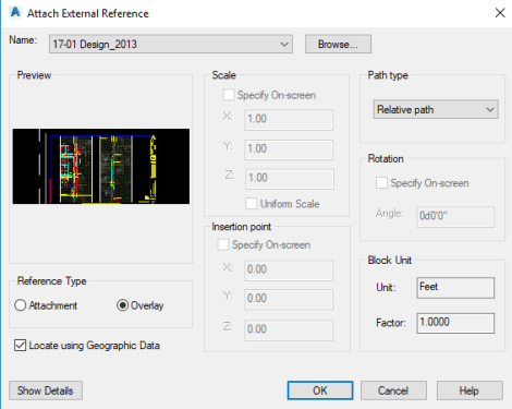 AutoCAD Xref Use Geo-reference