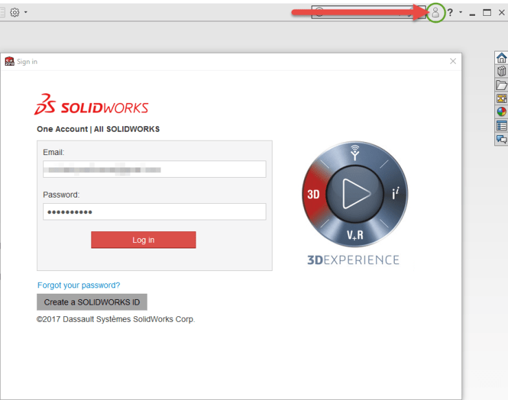 SOLIDWORKS 2018 - Login Dialog