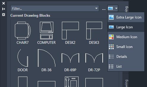 AutoCAD 2020 Blocks Palette