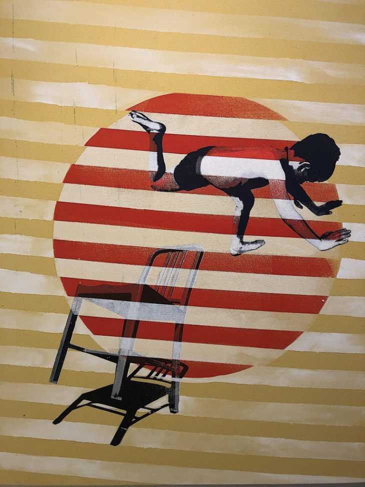 Design and Style Report image, Scott Avett acrylic and silkscreen artwork on canvas Jumping Boy