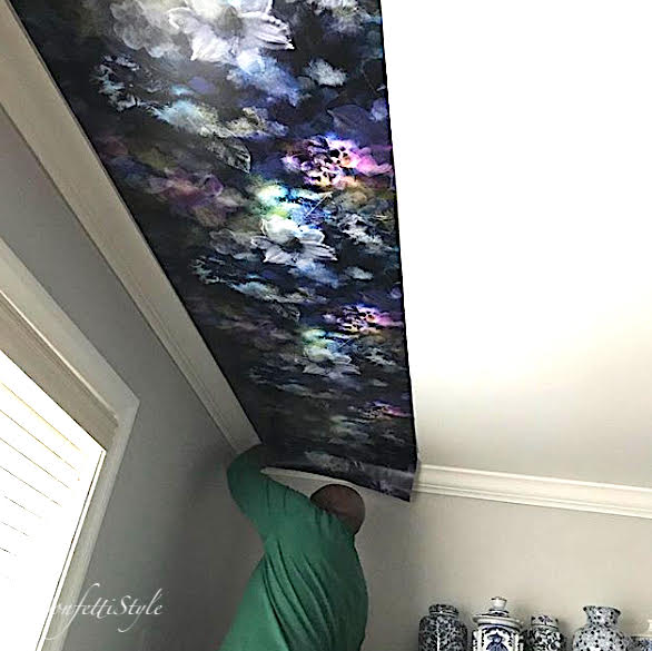 Peel and stick wallpaper can be used on walls, ceilings, furniture, home decor pieces - you name it! See this tutorial on how to hang wallpaper on a ceiling!