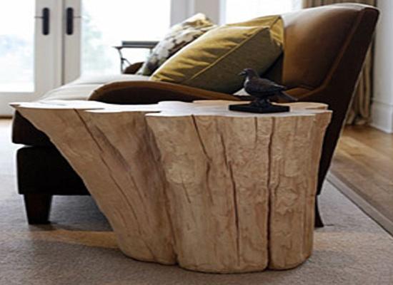 Arredare casa con i tavolini in tronco di legno naturale