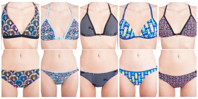 Barevné vzorované plavky na léto 2019 s ohňostrojem, palmičkami, longboardy a lebkami.