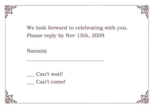 wedding response cards templates