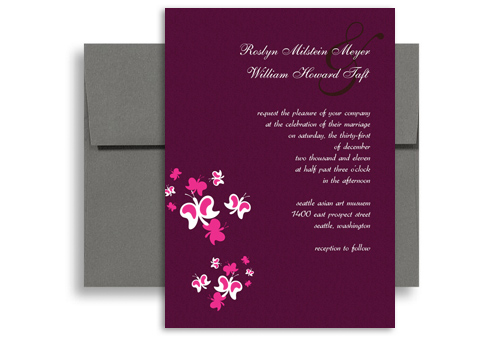Purple Erfly Orchid Blank Wedding Invitation 5x7 In